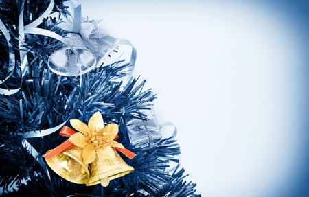 christmas holiday picture with decoration colored in blue tone