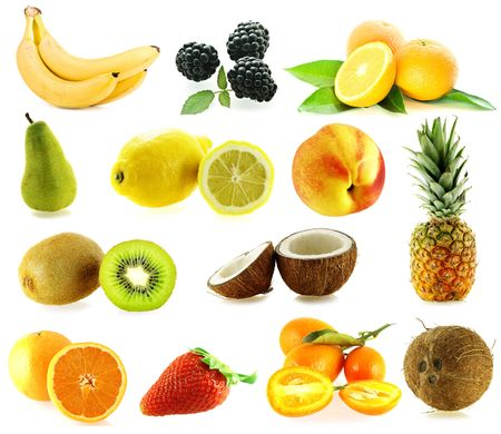 set of frash ripe different fruits over white background photo
