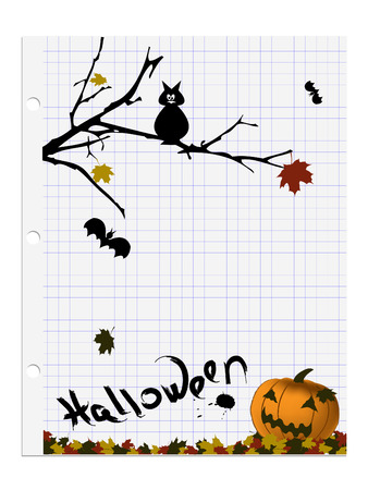 Halloween abstract vector stylized as copy-book page over white Stock Vector - 3632018