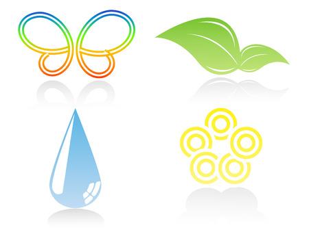 enviromental: cuatro iconos vector ambiental, el logotipo. Elementos para el dise�o Vectores