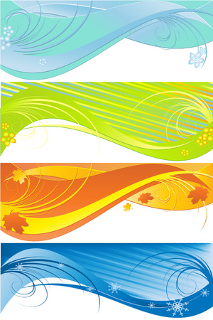 four seasons patterns in different colors. Elements for your design