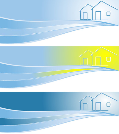vector header for real estate company in three colors variations
