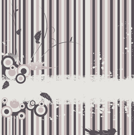 vector abstract striped backdrop with floral elements Vector