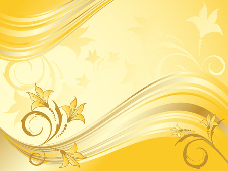shiny abstract floral vector backdrop in gold colors  イラスト・ベクター素材
