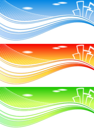 abstract vector header for real estate or constraction company in three colors