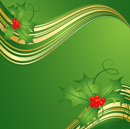 elegant wavy vector backdrop for Christmas with gold lines Vector