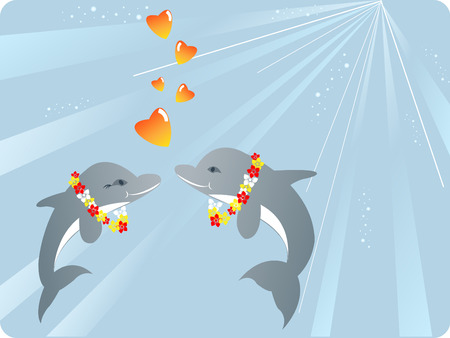 Valentines day vector composition with two dolphines in love Vector