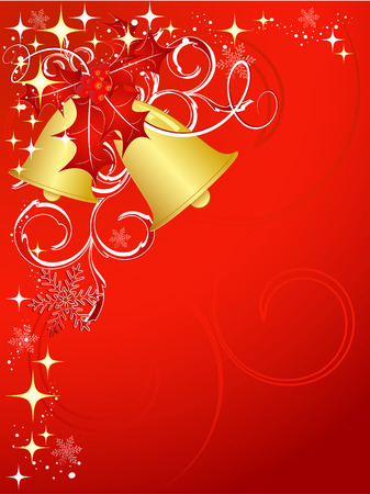 bright vector Christmas backdrop with bells, stars and  berry Vector