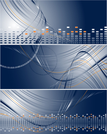 set of three bright wavy vector striped banners. Elements for design