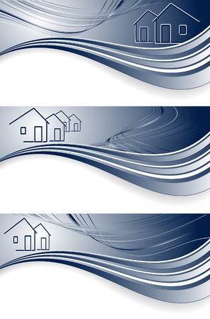 vector wavy headers for real estate or construction company. No mesh used