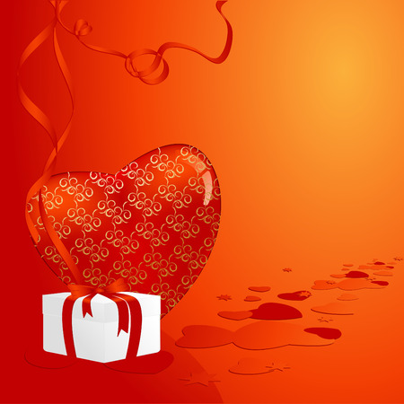 holiday vector illusration with elegant heart and gift box Vector