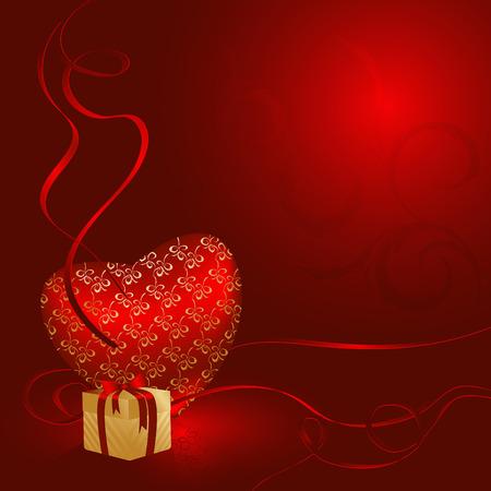 elegant vector illustration with shiny heart abd gift box Vector