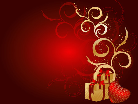 floral vector Holidays background with gift boxes Vector