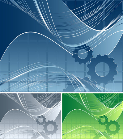 modern vector background with gears in three colors variation Vector