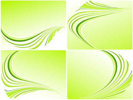 busines: four vector green templates for busines cards