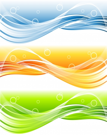 bright vector header with wavy lines in three color variations