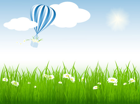 bright vector summer scene with hot air balloon in the sky Vector