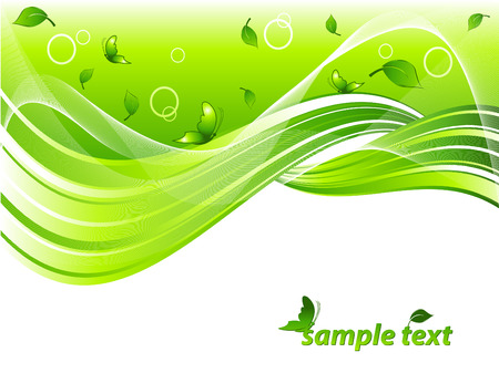 vector environmental header with leaves, butterflies and  copy space