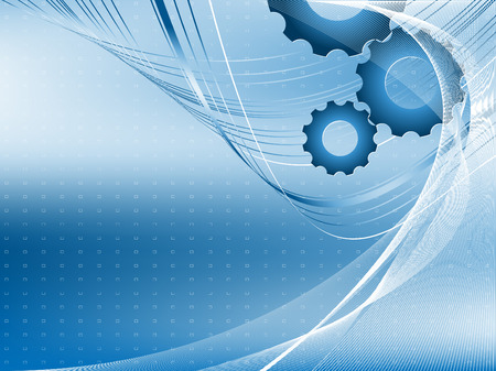 technological: vector blue technological modern backdrop with gears Illustration