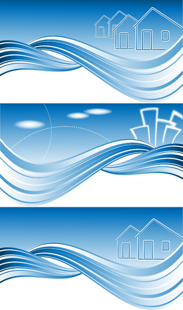 constraction: three vector headers for real estate or construction company
