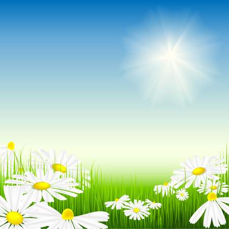 vector illustration of bright summer day. No mesh used Stock Vector - 4395741
