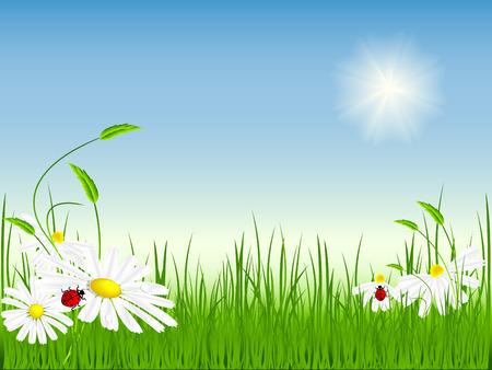 bright summer day. Vector illustration. No mesh used Stock Vector - 4395745