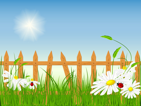 bright summer vector scene.  No mesh used Vector
