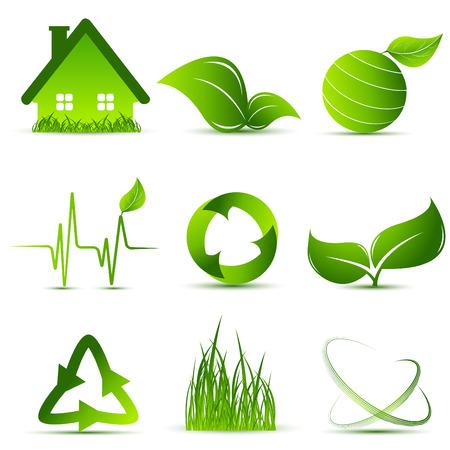 enviromental: conjunto de elementos de dise�o ambiental de vectores y Simbolos