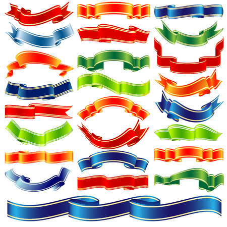 big set of colorful vector shiny ribbons over white background Illustration