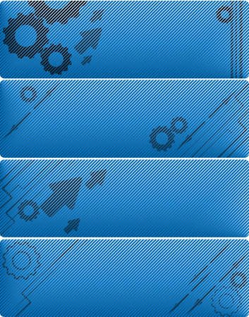 four modern vector banners with gears and arrows Vector