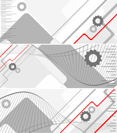 modern corporate vector banners with gears in grey colors