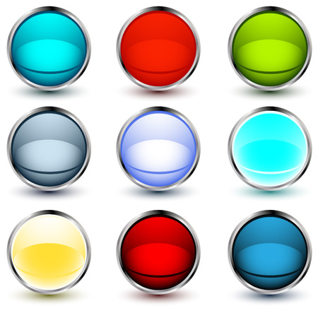 chrom: set of vector web buttons with shadows over white background