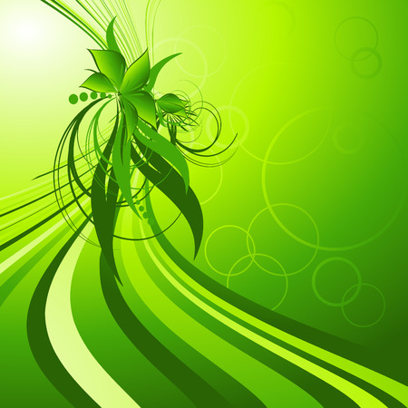 abstract floral design with plants and wavy lines