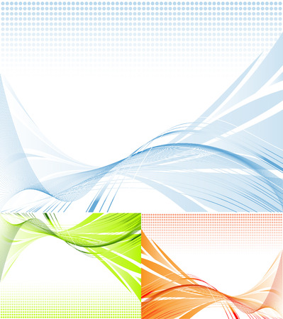 abstract vector lines in three colors variations