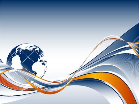 abstract vector web achtergrond met vloeiende lijnen en de wereld
