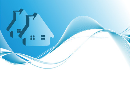 blue roof: abstract vector header for real estate or construction company with copy space