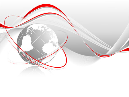 abstract vector wavy lines with globe and copy space for your text