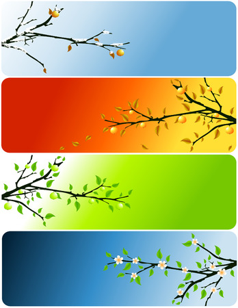 four seasons abstract vector banners with apple tree Stock Vector - 5393865