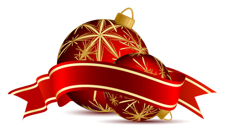 two christmas vector ballons with ribbon over white Vector