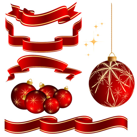 vector set of Christmas elements for your design over white Illustration