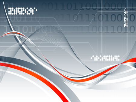 abstract vector background with binary code and lines Illustration