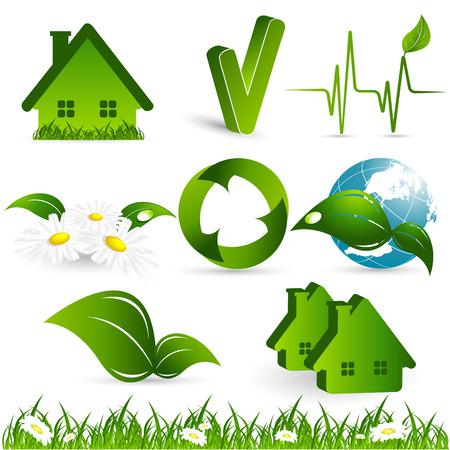 environmental design elements over white background