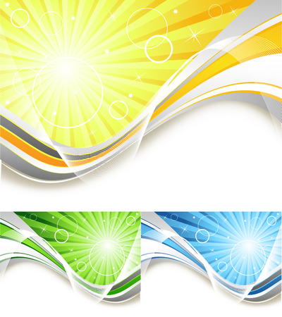 bright vector background with sunbeams in three colors