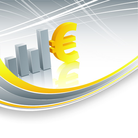 abstract background with bar graphs and euro sign