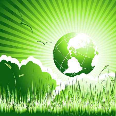 futuristic nature: abstract environmental concept with globe and meadow