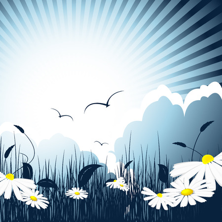 abstract fairy meadow with daisies and birds