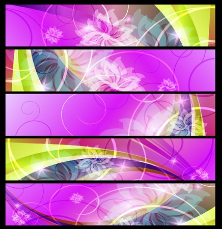 set of horizontal floral banners Stock Photo - 7698442