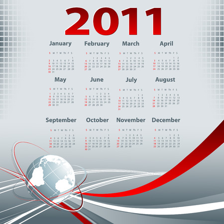 business template with 2011 year  calendar  イラスト・ベクター素材