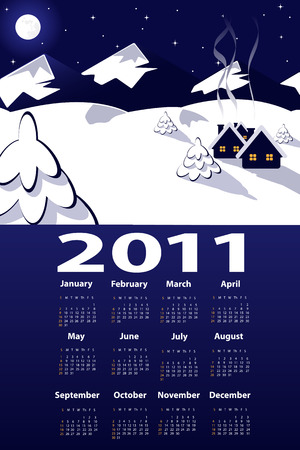 illustration of night  view over mountains with 2011 year calendar Vector