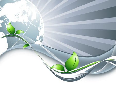 protection line:  environmental background with globe and copy space